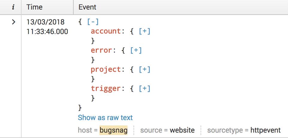 Bugsnag docs › Product › Integrations › Splunk