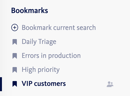 Sidebar bookmark menu