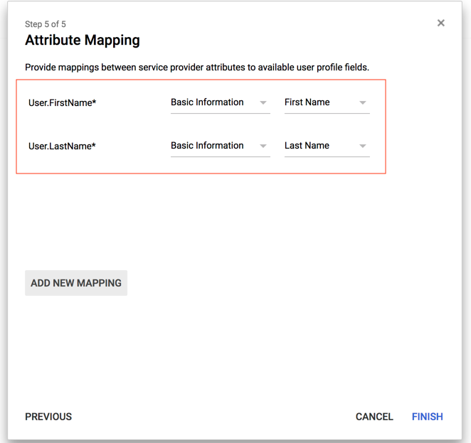 Google Cloud Identity attribute mapping