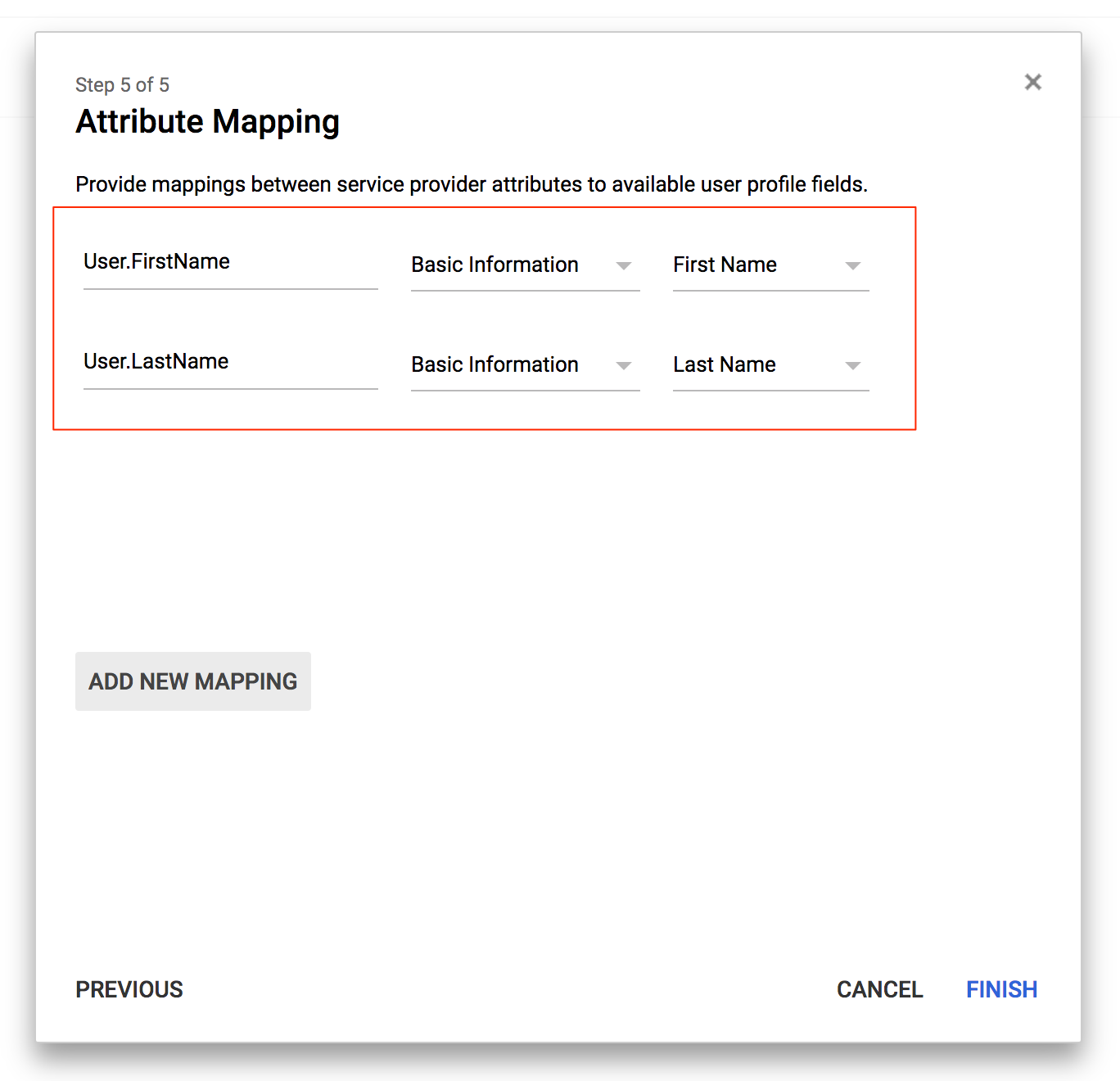 GSuite attribute mapping