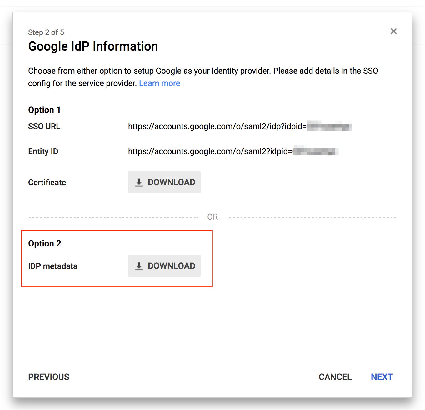 Download Google Cloud Identity metadata